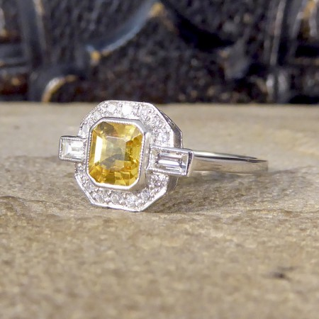 SOLD Contemporary 1.20ct Yellow Sapphire and Diamond Engagement Ring in Platinum
