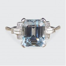 SOLD Contemporary 2.20ct Aquamarine Ring with Diamond Showers in Platinum