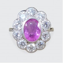 1.40ct Pink Sapphire and 1.40ct Total Diamond Cluster Ring in Platinum