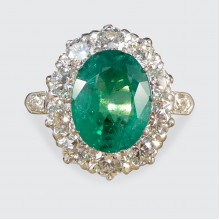 2.17ct Vivid Emerald and 1.35ct Diamond Cluster Ring in 18ct Yellow and White Gold