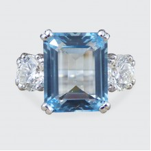 SOLD 3.35ct Aquamarine and 1.04ct Diamond Three Stone Ring in Platinum