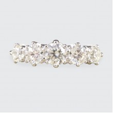 Contemporary 1.30ct Diamond Five Stone Ring with Diamond Shoulders in Platinum