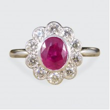 Contemporary Deco Style 0.80ct Ruby Diamond Cluster Ring in Platinum