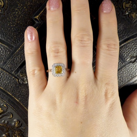 Art Deco Style Modern 1.00ct Asscher Cut Yellow Sapphire and Diamond Cluster Ring in Platinum