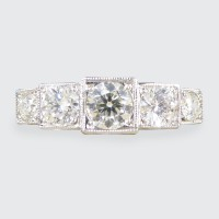 Art Deco Style Modern 0.85ct Diamond Five Stone Ring in Platinum