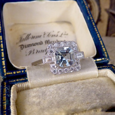 Art Deco Style Aquamarine and Diamond Cluster Ring in Platinum