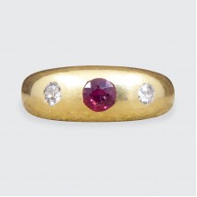 Edwardian Ruby and Diamond Gypsy Set Band in 18ct Yellow Gold
