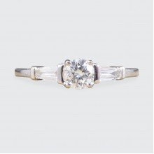 Contemporary Diamond Solitaire Ring with Diamond Baguette Cut Shoulders in 18ct White Gold