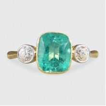 Edwardian Vibrant Emerald and Diamond Three Stone Ring in 18ct Gold