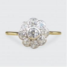 SOLD Antique Edwardian Diamond Daisy Cluster Ring in 18ct Yellow Gold