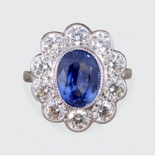 2.45ct Sapphire and 1.60ct Total Diamond Cluster Ring in Platinum