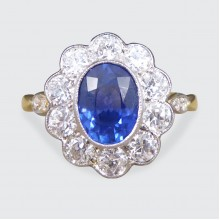 Contemporary 1.25ct Sapphire and Diamond Cluster Ring in 18ct Yellow Gold and White Gold