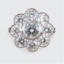 SOLD Modern 2.10ct Total Diamond Daisy Cluster Ring set in Platinum
