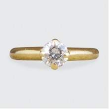 Vintage Diamond Claw set Solitaire Engagement Ring in 18ct Yellow Gold