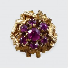 C1968 Ruby Cluster Bark Effect Cocktail Ring in 9ct Yellow Gold