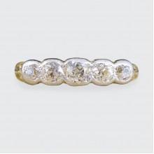 Late Victorian Collar Set Five Stone Diamond Ring in 18ct Yellow Gold and White Gold