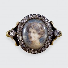 Antique Edwardian Portrait Ring with Rose Cut Diamond Surround in 18ct Yellow Gold and Silver