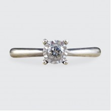 SOLD Diamond Set Illusion Effect Solitaire Ring Modelled in 9ct White Gold