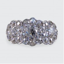 Exquisite Edwardian Triple Diamond Cluster Ring in 18ct Yellow and White Gold