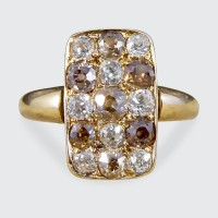 Late Victorian Brown and White Diamond Chequerboard Ring in 18ct Yellow Gold