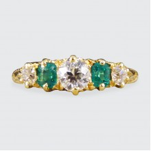 SOLD Antique Late Victorian Emerald and Diamond Five Stone Ring modelled in 18ct Gold