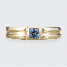 SOLD Vintage Blue Topaz Set Band Ring in 9ct Yellow Gold