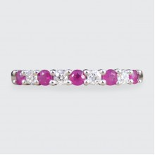 Ruby and Diamond Claw Set Stackable Ring in White Gold