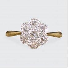 Dainty Edwardian Daisy Diamond Cluster Ring Crafted in 18ct Yellow Gold