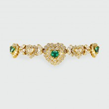 SOLD Contemporary Emerald and Diamond Heart Shaped Bracelet in 18ct Yellow Gold