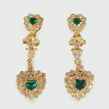 SOLD Contemporary Emerald and Diamond Heart Shaped Earrings in 18ct Yellow Gold