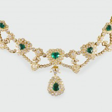 SOLD Contemporary Emerald and Diamond Heart Shaped Necklace in 18ct Yellow Gold