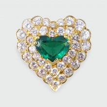 SOLD Contemporary Emerald and Diamond Heart Shaped Ring in 18ct Yellow Gold